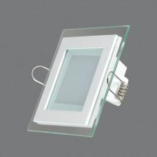 705SQ-6W-4000K Светильник встраиваемый,квадратный,со стеклом,LED,6W
